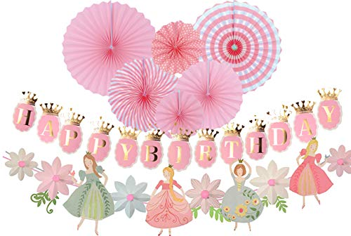 Princess Birthday Decoration | Princess Birthday Banner | Pink Happy Birthday Banner | Pink and Gold Birthday Party Decorations | Princess & Flower shape birthday party banner | Princess Home & Cab -