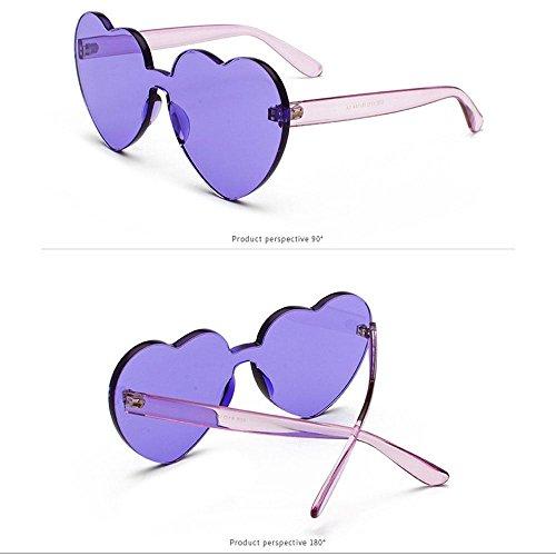de de plastique en soleil transparent Lunettes Pour en Violet Taille forme sans rouge cœur normale femmes monture rose Iwxdqzq