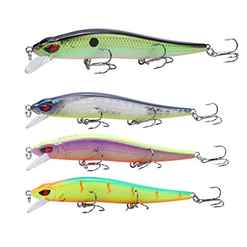 RUNCL Anchor Box - Slow Sinking Minnows SSM100, Wobbler Fishing Lures, Stick Baits, Hard Fishing Lures (Pack of 4)