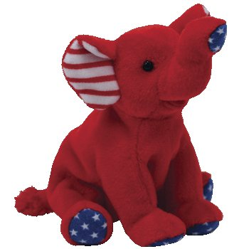 Amazon.com  Ty Beanie Babies Righty Patriotic Elephant in Red  Toys ... 4dd1d9ffb49