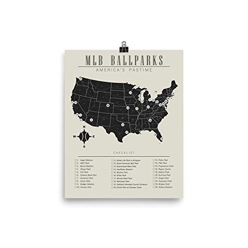 MLB Ballparks Checklist Map Poster Print Bucket List ()