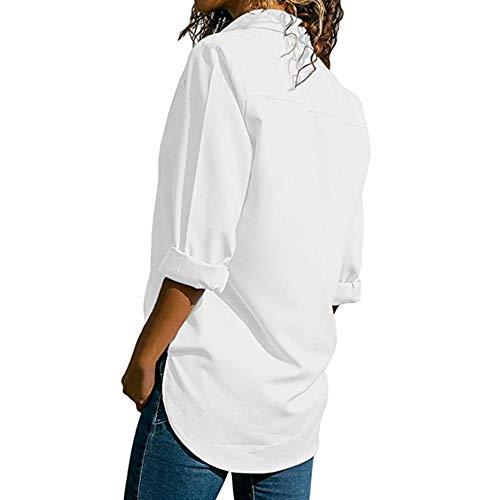 Decha Blouse V Femme Shirt Manche Printemps Automne Top Longue Loose Chic Chemise Chemisier Cou T Blanc Casual rwAHvZ4qr