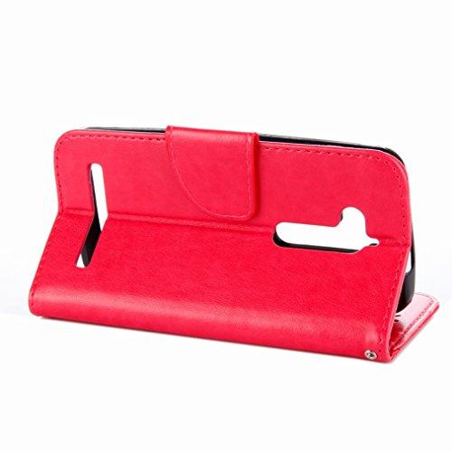 Yiizy Asus Zenfone Go ZB500KL Custodia Cover, Sollievo Fiore Design Sottile Flip Portafoglio PU Pelle Cuoio Copertura Shell Case Slot Schede Cavalletto Stile Libro Bumper Protettivo Borsa (Rose Red)