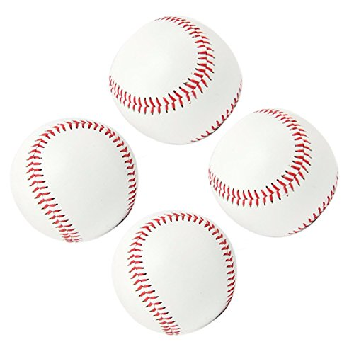 "Baseballs Training Foam (Smartlife15 Practice Baseballs, Reduced Impact Safety Baseballs, Standard 9"" Adult Youth Leather Covered Soft Balls for Team Game Competition Pitching Catching Training, 4Pack (Cork Center(White)))"