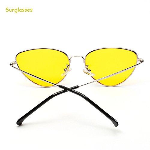 Protection Chat UV400 Mode Vintage Women Sunglasses Lunettes Classique de Mode Femme Wayfarer forepin Miroité Metallique Twin Jaune de Oeil Monture Beams Soleil Fashion 8CRR1qw