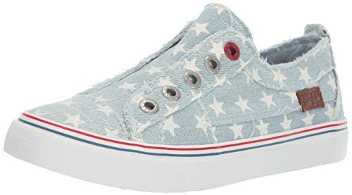 Blowfish Women's Play Sneaker ice Star Print Denim, 6.5 M US