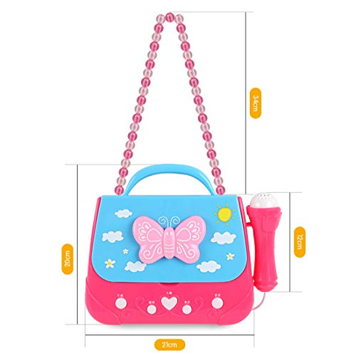 XSHION Karaoke Machine for Girl,Children Portable Musical Bag Karaoke Machine Toys with Microphone Karaoke Player Connect MP3 Smartphone - Butterfly by XSHION (Image #5)