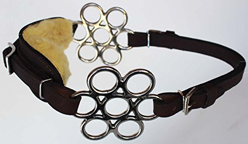 PRORIDER Horse Fleece Lined Adjustable Leather Bitless Bridle Curb Strap Hackamore 35H32