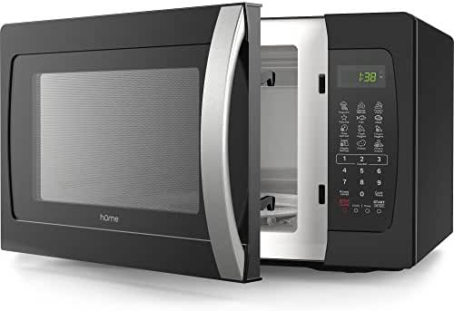 hOme Countertop Microwave Oven - 1.3 Cubic Feet 1050 Watt Microwave with 10 Power Levels and 11 Cooking Functions for Popcorn Pizza and More - BPA Free Glass Tray Plate - Black and Stainless Steel
