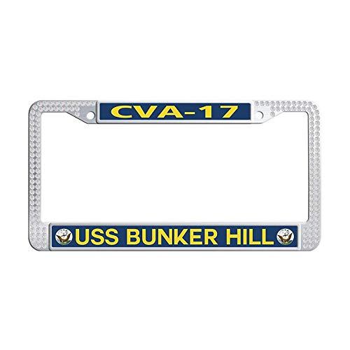 Bling Bling Rhinestone Auto License Plate Frame, U.S. Navy Military USS Bunker Hill CVA-17 White Sparkle Rhinestones Crystal License Frames Plate with Screws Caps Set