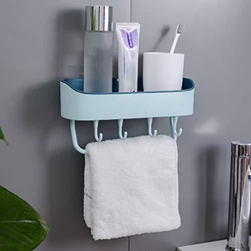Hefu Wall Mounted Sink Rack Shelf with 4 Towel Hooks_Kitchen Bathroom Storage Rack Shelf Hanger Draining Holder Multi-function Washbasin Drain Rack Kitchen Debris Can Be Hung No Trace Plastic Hook (C)