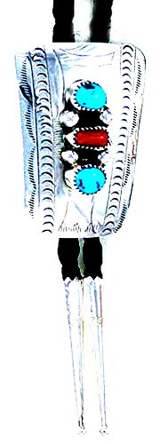 By Navajo Artist Wilbert Myers:Beautiful! Sterling-silver Navajo Turquoise-Coral Bolo-tie