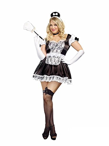 Maid For You Costume Womens Sexy Black French Maid Fancy Dress Plus Size (Plus Size French Maid Outfits)
