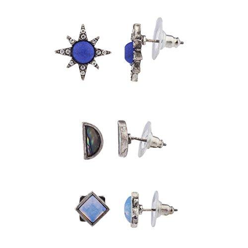 Lux Accessories Boho Blue Opal Abalone Shell Starburst Multi Earring Set (3PCS) -
