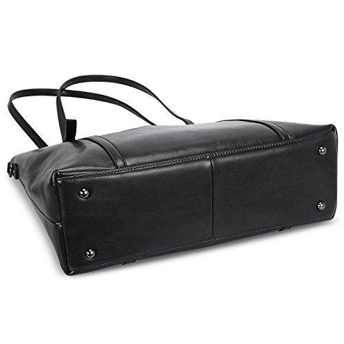 Women's 3 Vintage Black Tote Handbag dark Brown Fashion Messenger Shoulder Leather Genuine S zone Bag way wFEqtF5