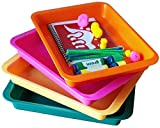 Activity Plastic Tray - Art + Crafts Organizer Tray, Serving Tray, Great for Crafts, Beads, orbeez Water Beads, Painting (Set of 4 - Pink, Yellow, Green, Orange)