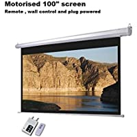 Gadget-Wagon Motorized Automatic Electric Projector Screen Ceiling Mount with Remote and RF Control with Matte Full HD Auto Lock (White, 100-inch -7 x 5 feet)