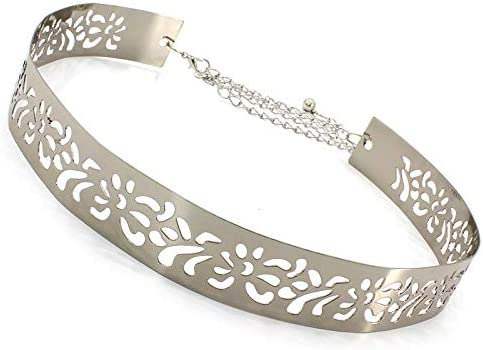Cadena de la Cintura, Ahueca hacia Fuera los Accesorios Casaca Cadena de Cuerpo Color de la Astilla de Oro para Las Mujeres Chica,Plata