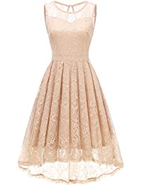 Womens Vintage Lace High-Low Evening Party Gown Sleeveless Cocktail Bridesmaid Dress