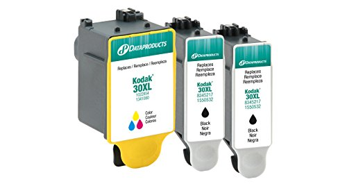 Dataproducts Ink Refill (Dataproducts Remanufactured 3-Pack-Inkjet Cartridges for Kodak 30XL-2Black, 1-Color)