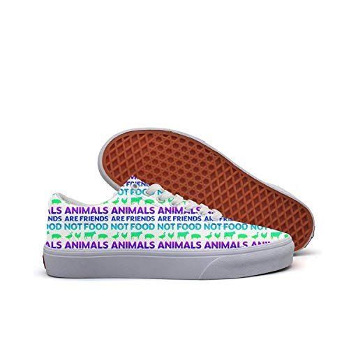 Skateboard Shoes Animals are Friends Not Food Vegans Vegetarian Retro Lightweight Athletic Shoes for Men's]()