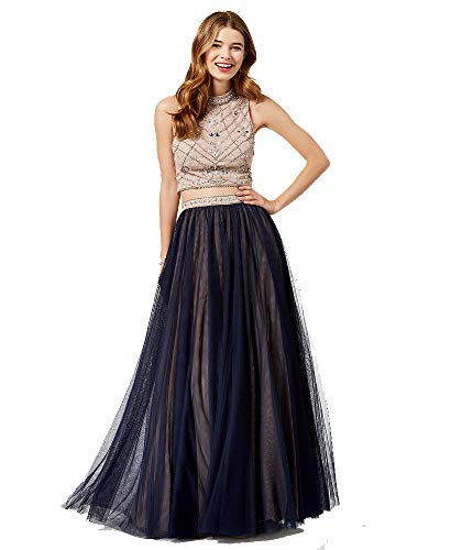 - Say Yes to the Prom Juniors' Embellished Contrast 2-Pc. Gown (NavyTan, 11)