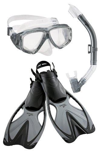 Speedo Adult Adventure Mask Snorkel Fin Set, Silver, Large/X-Large