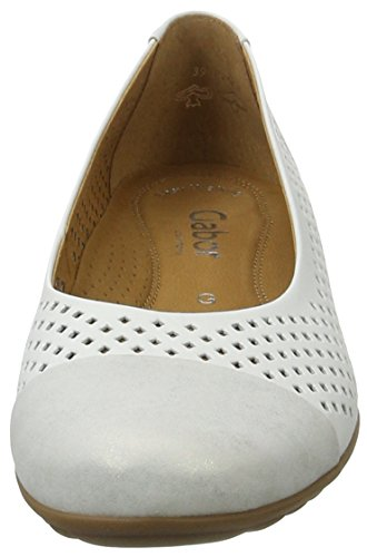 Gabor Shoes Comfort, Bailarinas para Mujer Blanco (weiss/silber 51)