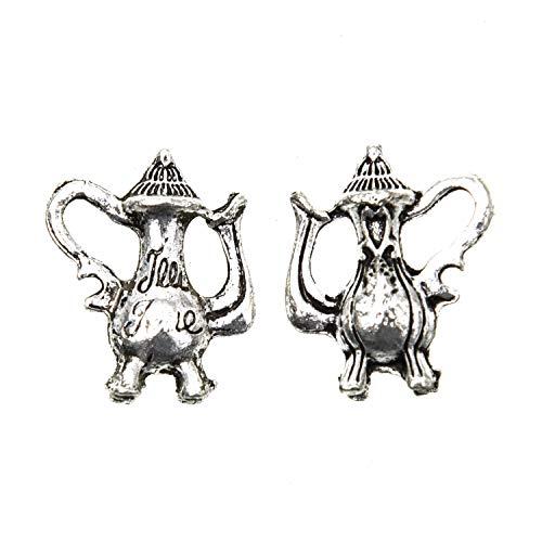 Monrocco 50pcs Antique Silver Tea Pot Charm Teapot Bead Charm for Pendant Bracelet Earring Jewelry - Charms Pot Antique Silver Tea