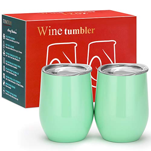 (TOMTOO Wine Tumbler With Lid - 12 oz Double Wall Vacuum Insulated Travel Tumbler Cup - 2 Pack Wine Glasses Perfect Father's Day Gifts (12 oz, H-Light Green 02))