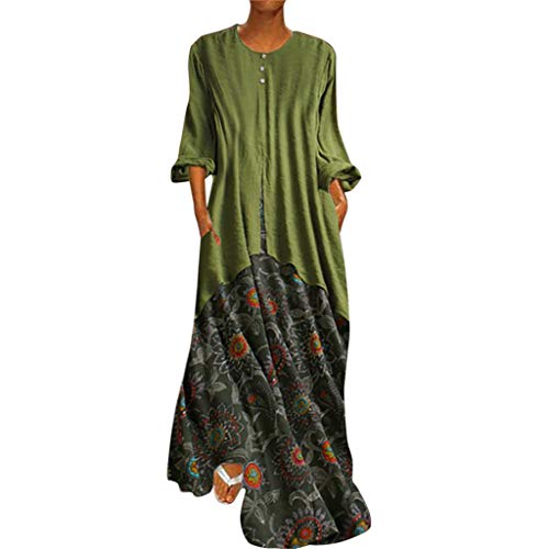 (Homeparty Retro Maxi Dresses Women New Printed Fake Two-Piece Long Sleeves O-Neck Green)