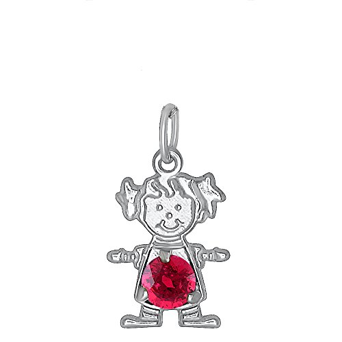 DTLA Sterling Silver CZ Simulated Birthstone Girl Charm Pendant for Baby and Children - January