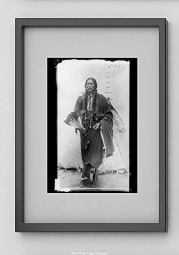 1890 Photograph - New York Map Company  Quanah Parker, Comanche Native American Indian Chief, Standing, Facing Front, Holding Feathers, in Front of Tepee|1890 Photograph|8x12 Black & White - Ready to Frame