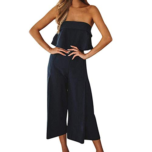 ABASSKY Jumpsuit for Women,Summer Lady Strappy Soild Long Trouser Playsuits Jumpsuit Rompers Holiday (Black, M)