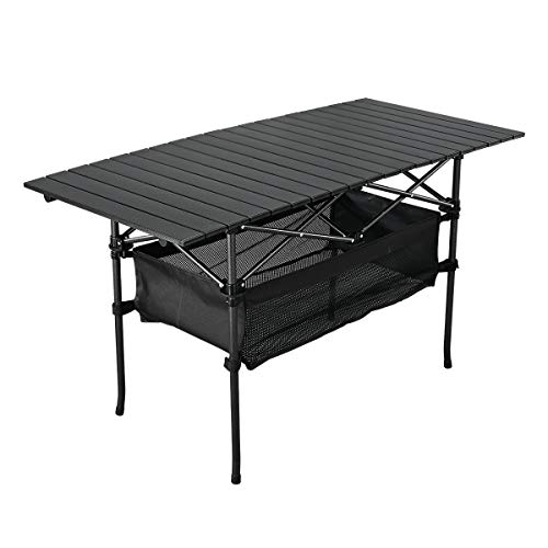 WUROMISE Sanny Outdoor Folding Portable Picnic Camping Table, Aluminum Roll-up Table with Easy Carrying Bag for Indoor,Outdoor,Camping, Beach,Backyard, BBQ, Party, Patio, Picnic
