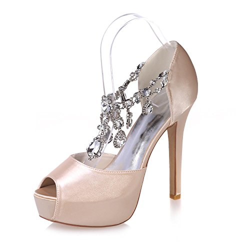 L@YC Female Sparkling Wedding Shoes Peep Toe Cool Heels/Party Night & 3128-36 Champagne