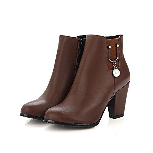 Zip Donna Nero Spillo Brown Heels Stivali A Marrone Jieeme Block Shoes Ankle Tacco Ladies ZUqWw5F