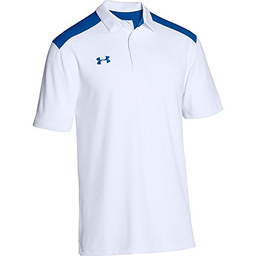 Under Armour Men's Team Armour Colorblock Polo (White/Royal/Royal, Small) by Under Armour