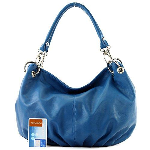 Made Italy - Bolso al hombro de cuero para mujer azul señales