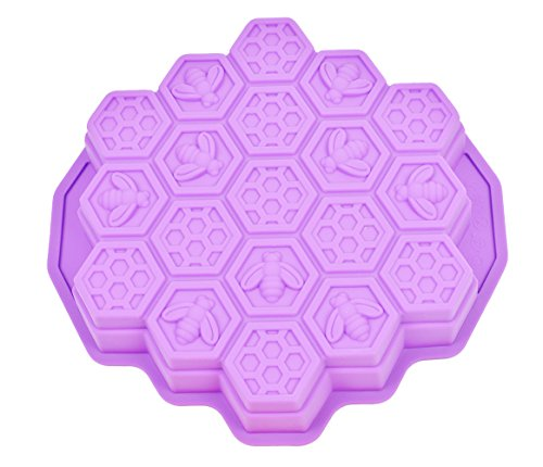 (Honeycomb Cake Molds for Kids, HapWay 19 Cavity Silicone Honey Comb Bees Soap Mold Cake Baking Moulds Pull-Apart Dessert Cake Pan Mold)