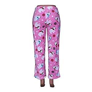 Sleep & Co. Women's Soft Plush Pajamas With Dog and Snowflake Print and Large Bow Pink Medium