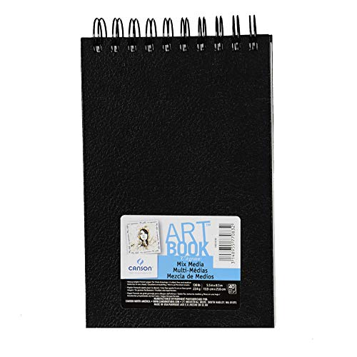 Mix Fine (Canson Mix Media Art Book, Heavyweight French Paper, Double Sided Fine and Medium Texture, Side Wire Bound, 138 Pound, 5.5 x 8.5 Inch, 40 Sheets)