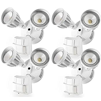 Image of Amico 4 Pack LED Flood Light Outdoor Motion Sensor Light, Dual-Head 5000K Daylight White 2550 Lumens IP65 Waterproof, ETL Security Lights Motion Outdoor Home Improvements