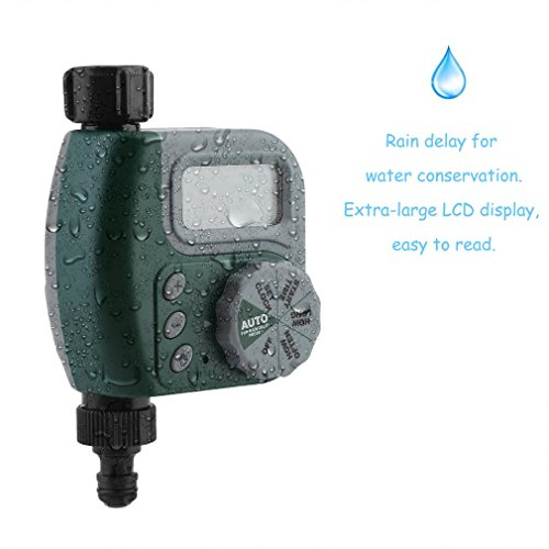 Homgrace Single Outlet Programmable Hose Faucet Timer, Outdoor Garden Waterproof Automatic Water Timer Garden Irrigation Controller with LCD Display