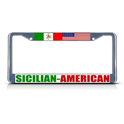 Sicilian American Metal License Plate Frame Tag Border Two Holes Perfect for Men Women Car garadge Decor