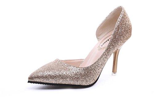 LBDX Moda Puntiagudos Delgados Zapatos de Tacón Alto Lentejuelas Zapatos de Cristal Zapatos de Trabajo de la Mujer del Club Nocturno Oro