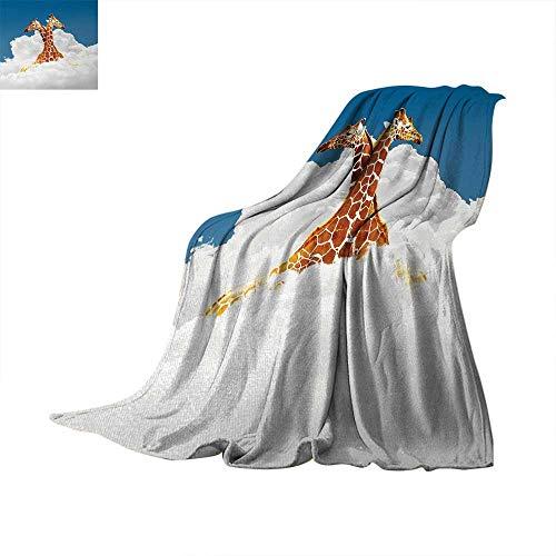 Animal Digital Printing Blanket Romantic Couple Giraffes on Clouds Happy Lovers Valentines Artful Style Display Summer Quilt Comforter 62