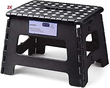 HOUSE DAY Taburete Plegable de Ligero 22cm Negro plástico 2 Piezas Antideslizantes para niños la Cocina Taburete de baño
