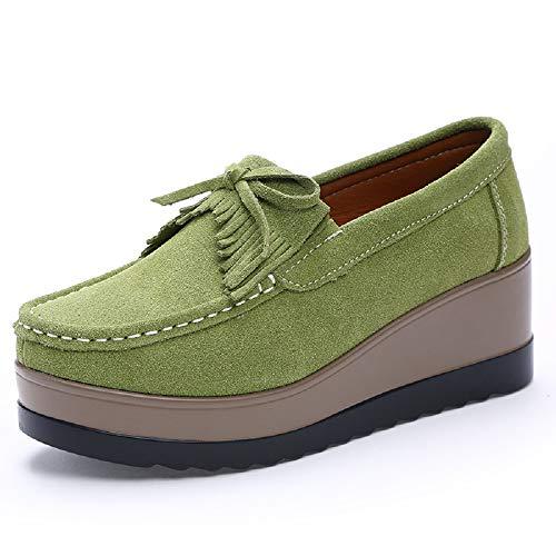 Color tamaño EU Mocasines Borla Mujer Cuero de Qiusa Zapatos Verde Casaul 38 Bowknot Marrón Plataforma fzw1n4Hq