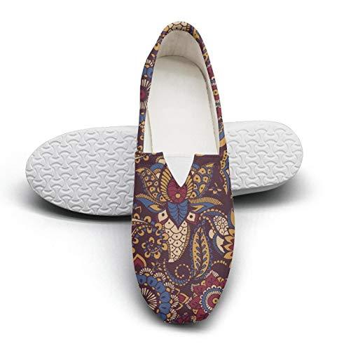 YSLC Women's Cotton Espadrille Colorful Persian Paisley Sneaker Shoes